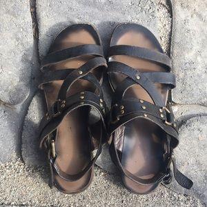 Franco Sarto black leather gladiator sandals